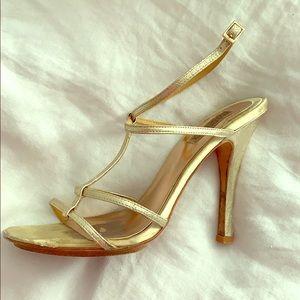 Badgley Mischka Gold strappy sandle